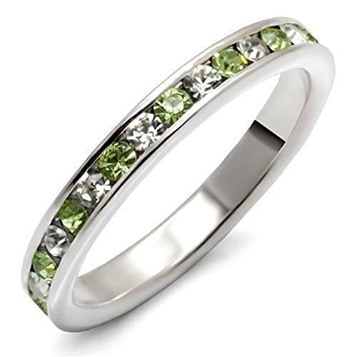 YourJewelleryBox LOAS912 CHANNEL peridot CLEAR CZ STACKING full ETERNITY RING BAND STERLING SILVER SIZE P USA 8