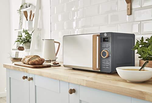 Swan SM22036GRYN, Nordic Digital Microwave, Wood Effect Handle, Soft Touch Housing and Matt Finish, 800W, Slate Grey