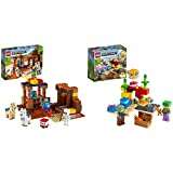 LEGO Minecraft El Puesto Comercial, Set de Construcción con Figuras de Steve, Esqueleto y Llamas + SetdeConstrucciónconAlex,PezGlobode2LadrillosyZombieAhogado