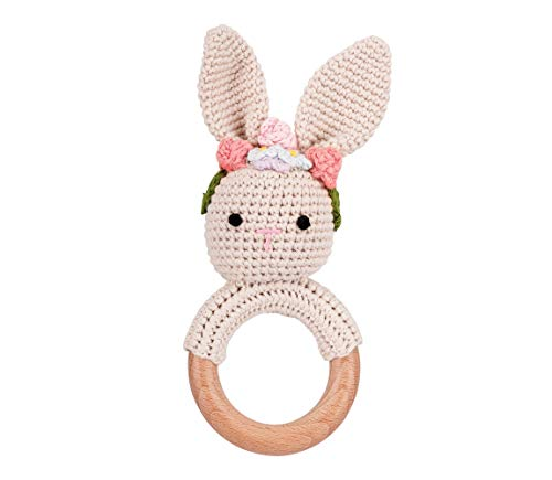 Bunnywelt Babyrassel für Mädchen und Jungen ab 0 Monaten ( Rassel Hase Mädchen) - handgemachte Häkelrassel für Babys, zum Zahnen des Babys, Greifring gehäkelt - Geschenk zur Geburt / Taufe / Babyparty
