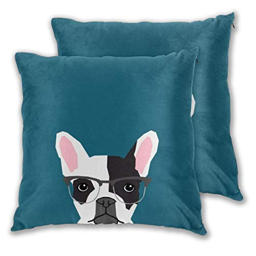 Nonebrand Frenchie with Glasses French Bulldog Throw Pillow Covers, Cute Animal Pillowcase Double Side Print Cushion Covers for Sofa Couch Bed 18x18 Inches,Set of 2