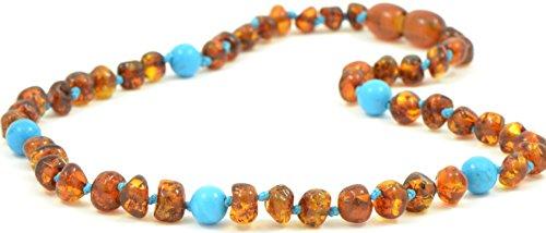 Collana in ambra mista con perline turchesi,colore cognac, dimensioni tra 28e36cm,perle di ambra baltica realizzate a mano e Argento, colore: Cognac, cod. TBBN-3