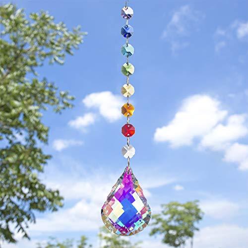 H&D Chakra-Sonnenfänger, Kristall-Prismen, handgefertigt, Regenbogen-Kugel, Pendel, 76 mm