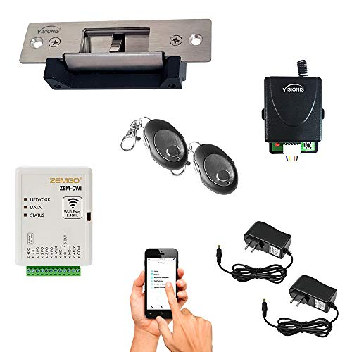 Zemgo FPC-8432 Smart Mobile WiFi Controller Access Control with Android + Apple App, Web Browser + Smartphone Remote Viewing, 770lbs Electric Strike Fail Safe Fail Secure, Wireless Receiver Kit