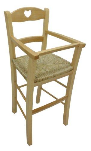 Ok Affarefatto Maddaloni Chaise Haute de Luxe en Bois Naturel pour Enfant