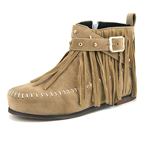 100FIXEO Retro Moccasin Boots for Women Faux Suede Fringe Ankle Boots Sewing Side Zipper Flat Heel Buckle Strap Winter Booties with Rivet (Beige, 8)