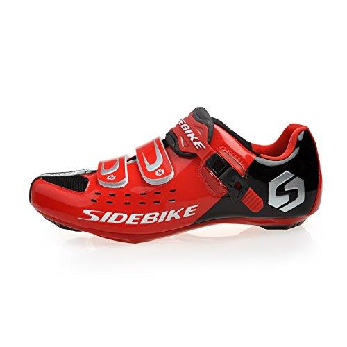 TXJ Unisexe Respirant Chaussures de vélo Professionnels pour Route (SD-001 Noir/Rouge pour Le Route, EU 43/Ft 27.5cm)