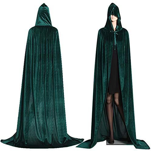 Capa con capucha larga de terciopelo, unisex, disfraz de Halloween, carnaval, Navidad, disfraz, disfraz (verde, L)