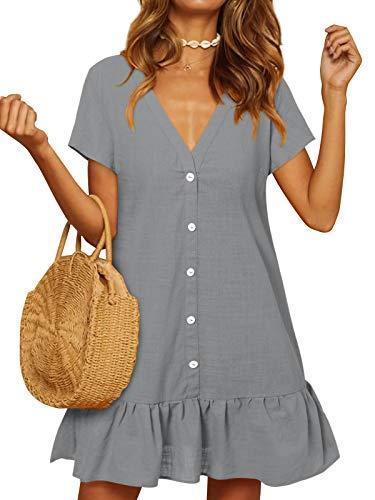 YOINS Damen Sommerkleid Kurzarm Minikleid Einfarbig V-Ausschnitt Homewear Blusenkleid mit Knopfen T-Shirtkleider Tunikakleid Grau S