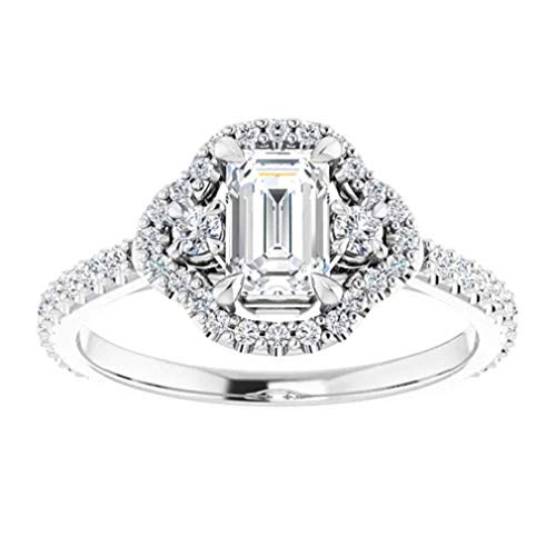 Gopi Gems Beautiful Victorian Halo Engagement Ring, Emerald 2.10CT, Colorless Moissanite Engagement Ring, 925 Sterling Silver Ring, Promise Ring, Wedding Ring, Perfact for Gift Or As You Want (V)