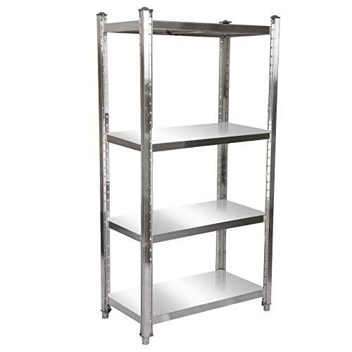 Estantería de acero inoxidable 90x50x155cm con 4 baldas para hostelería, cocina industrial, almacén