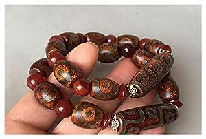 OCGDZ Neun Augen dzi perlen männer und Frauen Modelle natürliche chalcedon armbänder ethnische Stil Tibet Retro authentisch DREI Augen wenwan