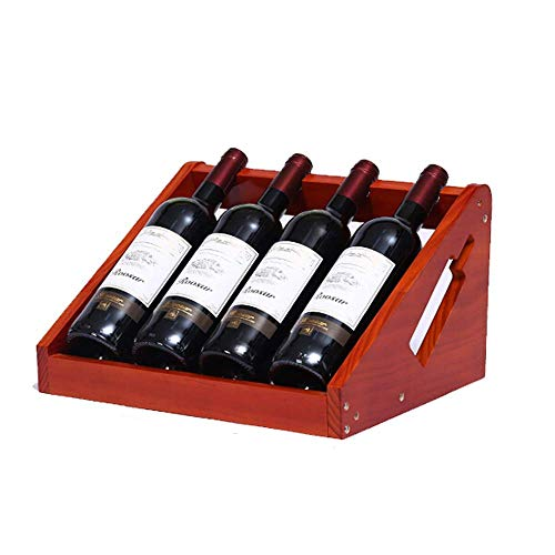 ZJZ Estante de Vino 4 Botellas de Estante de Almacenamiento de Vino de Madera Soporte de exhibición de Vino para Sala de Estar, Bar