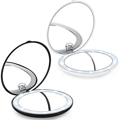 2 Stücke Kompakt Spiegel mit 1x/ 10 x Vergrößerung und LED Beleuchtung Klappbar Reise Make-up Spiegel Tragbar Taschen Spiegel Doppelseitiger Beleuchteter Handspiegel (Batterie enthalten)