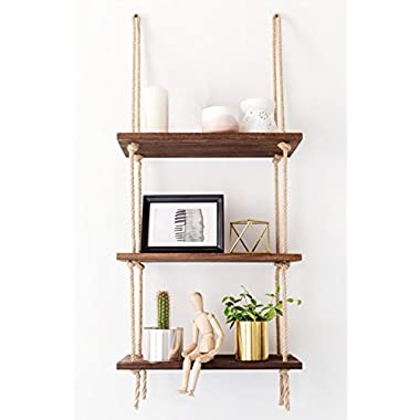 Mkono Wood Hanging Shelf Wall Swing Storage Shelves 3 Tier Jute Rope Organizer