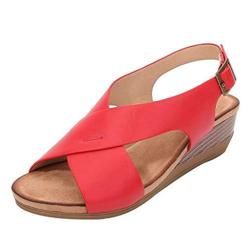 TOPEREUR Sandalen Damen Sommerschuhe Sandaletten mit Keilabsatz, Frauen Sommer Sandalette Bequeme Offener Zeh Sommersandalen Schöne Strandsandalen (Rot, 39.5EU)