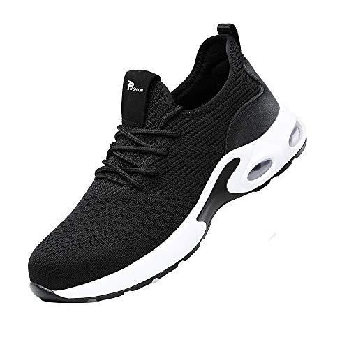 Zapatos de Seguridad Hombre Mujer Punta de Acero Zapatos Legero Zapatos de Trabajo Antideslizante Transpirable Zapatos de Trabajo Black43 EULongueur du Pied 270mm 🔥
