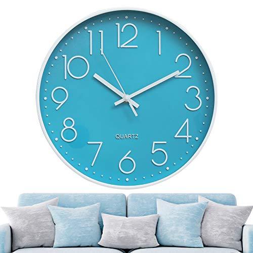 Jeteven Orologio da Parete Moderno 12 Pollici Senza Tocchi Quarzo Silenzioso per la Decorazione della Camera da Letto Blu