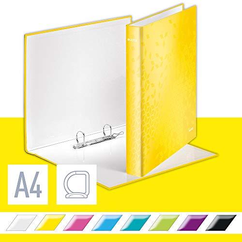 Leitz WOW Ringbuch für bis zu 230 Blatt, A4, 2 D-Ring Mechanik, 40 mm Rückenbreite, Gelb, 42410016