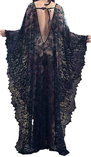 AiJump Caftán floral de encaje de la cubierta del bikini Hasta Bohemia vestido maxi del bañador del kimono para Mujer Talla nica Negro, Negro 1