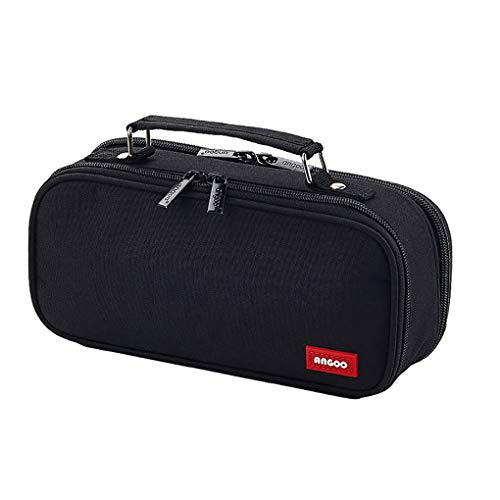 Rolin Roly Pencil Case Stationery Bag Organizer Big Capacity Pouch Durable with Zipper Multi Compartments Cosmetic Bags for Girls Boys Adults Teen (Black)
