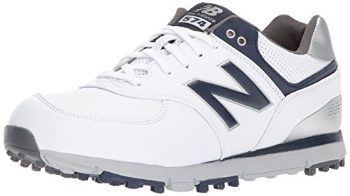 New Balance Men's 574 SL Golf-Shoes, White/Navy, 15 4E 4E US