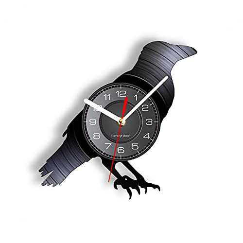 KDBWYC Cuervo Reloj de Pared Howl Art Disco de Vinilo Decoración Diseño Moderno Reloj de Cuarzo 3D Reloj Musical de Vinilo sin LED