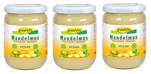 Mandelmus granoVita - 3x 500g - cremiges Mandelmus - VEGA