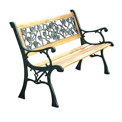 50-Zoll-Terrassenpark-Gartenbank, wetterfeste Verandastühle aus Gusseisen und Massivholzlatten, 3-Sitzer-Balkonsitz mit Armlehnen und rosafarbener Rückenlehne, Load 500BLS, For Entrance-Bank