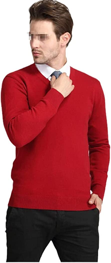 KGFDB Wool Thick Sweaters Autumn and Winter Casual Men Fashion V-Neck Long Sleeve Cashmere Sweater Pullovers