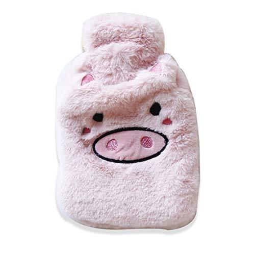 Wassergefüllte Süße Wärmflasche, Warmer Schlafsack Für Comic-Persönlichkeiten, Mini Mini Warm Und Im Winter HerausnehmbarRosa Stickerei 300ML