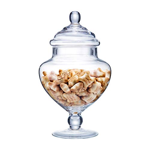 Diamond Star Clear Glass Apothecary Jars, Candy Buffet Display, Elegant Storage Jar, Decorative Wedding Candy Organizer Canisters (Height: 9' Body: 5')