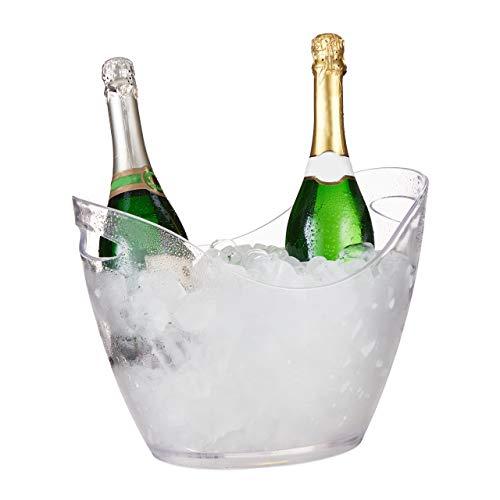 Relaxdays Secchio per il Ghiaccio, Cestello 6l, Portaghiaccio per Birra, Vino, Champagne, 25,5x34,5x26 cm, Trasparente