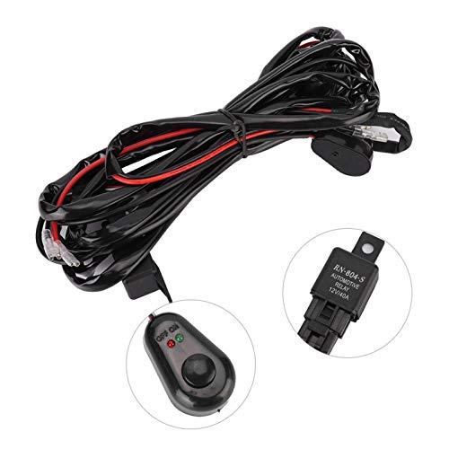 Arneses de cableado de luz puntual de 3 metros Cable de barra de luz LED para luces de tira largas de coche Juego de cables de interruptor de lámpara de trabajo