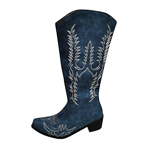 Retro Western Cowboy Boots for Women Floral Embroidery Riding Boots Warm Middle Tube Chunky Heel Shoes Pointed Boot Blue