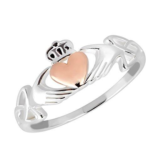 AeraVida Celtic Claddagh Love Heart Rose Gold Over Silver Ring (6)