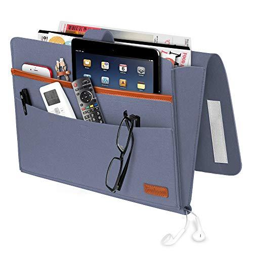 SIMBOOM Bett Tasche, Filz Bettablage Sofa Organizer Anti-Rutsch Aufbewahrungstasche Nachttisch-Caddy für Buch, Zeitschriften, iPad, Handy, Fernbedienung - Blau grau