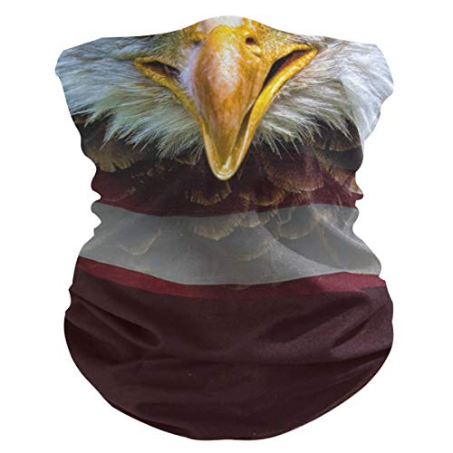 Face Mask Balaclava Half Bandanna - Angry North American Bald Eagle On Flag Neck Gaiter Sun Dust Wind Protection Seamless Neckerchief for Women Men Sports Cycling