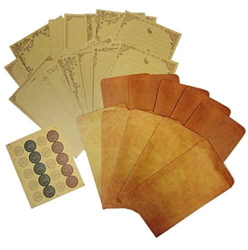 [comoza] レターセット レトロ アンティーク 調 封筒 10枚 便箋16枚 シール レトロ 手紙 便箋 (マルチセット)