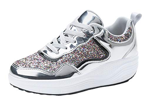 WUIWUIYU Women's Girls' Wedge Platform Shiny PU Sparkly Sequins Glitter Lace-Up Sneakers...