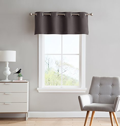 Nicole - 1 Straight Valance Curtain Panel - Premium Grommet Blackout - 54 inch Wide x 18 Long - Solid Thermal Insulated Draperies - Ideal for Any Room and Bedroom (1 Valance 54X18, Charcoal)