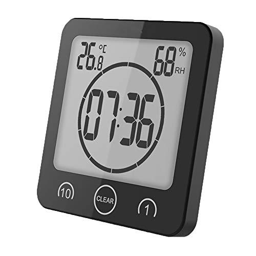 VORRINC Badezimmeruhr Digital Wecker Bad Uhr, Shower Clock mit Saugnapf LCD Display, Baduhr, Luftfeuchtigkeit Temperatur Wanduhren, Countdown Timer Für Dusche Küche (Schwarz)