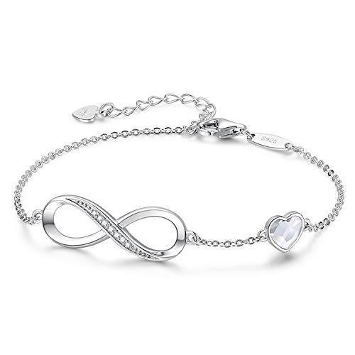 CDE Infinity Heart Symbol Charm Bracelet for Women 925 Sterling Silver Adjustable Valentine#039s Day Jewelry Gift Birthday Gift for Mom Women Wife Girls Her