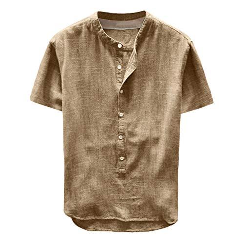 Yowablo Herren Shirt Kurzarm Top Bluse Fashion Summer Button Kurzarm aus Leinen und Baumwolle (XXL,34Khaki)
