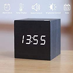 Wooden LED Digital Alarm Clock, Displays Time Date and Temperature, Cube USB Charger/3AAA Battery Powered Sound Control Desk Alarm Clock for Kids, Home, Office, Bedroom, Heavy Sleepers