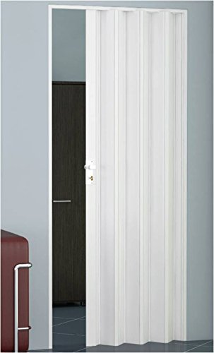 Falttüre Schiebetüre Raumteiler Trennwand in PVC doppelwandig B 82 cm, H 224 cm, Farbe WEISS