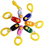 SunGrow 7 Dog Clickers with Wrist Bands - Colorful & Practical Set of