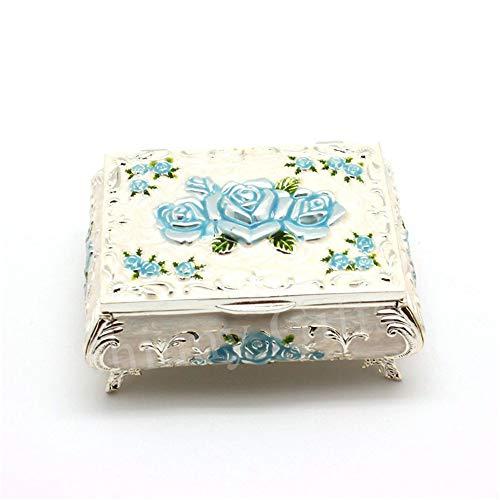 joyeros,Joyero con flor color de rosa, flor europea Caja de regalo de cumpleaños de boda de joyería de princesa-Flor azul