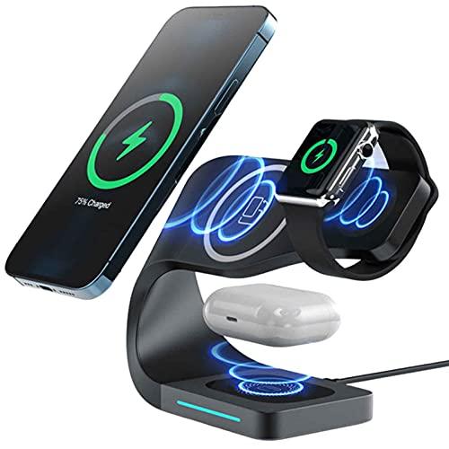 Kettles 4 en 1 Estación de Carga inalámbrica 1 5W qi Soporte de Cargador inalámbrico Compatible con iPhone y Samsung Galaxy Otro teléfono Qi habilitado