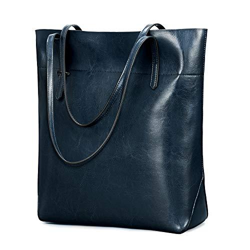 Kattee Vintage Genuine Leather Tote Shoulder Bag With Adjustable Handles (Blue)